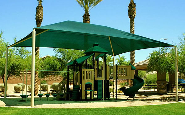 Large Green Rectangle Shade & Hip Roof Shade Structures